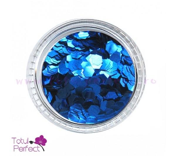 Sclipici unghii Hexagon Albastru Inchis
