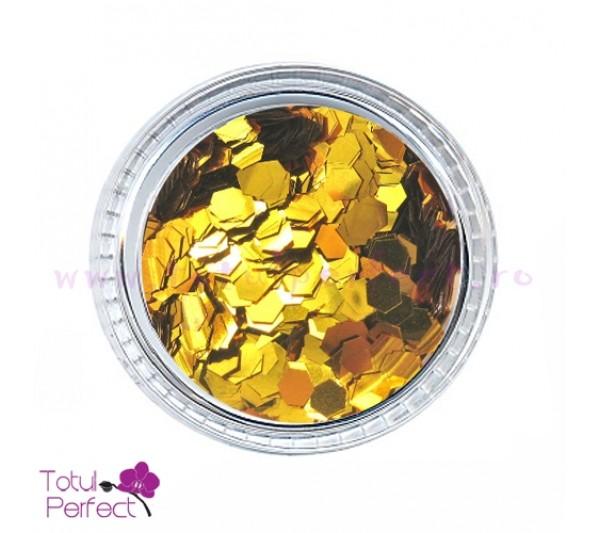 Sclipici unghii Hexagon Auriu