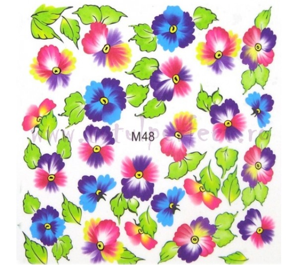 Tatuaj unghii Flori - Water Paint M48