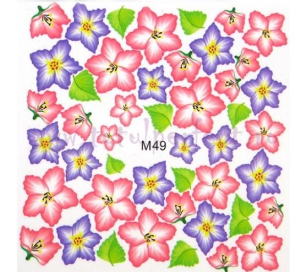 Tatuaj unghii Flori - Water Paint M49