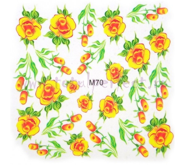 Tatuaj unghii Flori - Water Paint M70