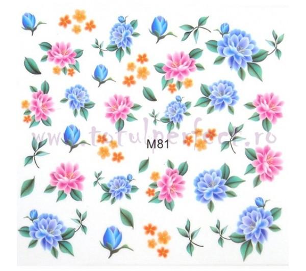 Tatuaj unghii Flori - Water Paint M81