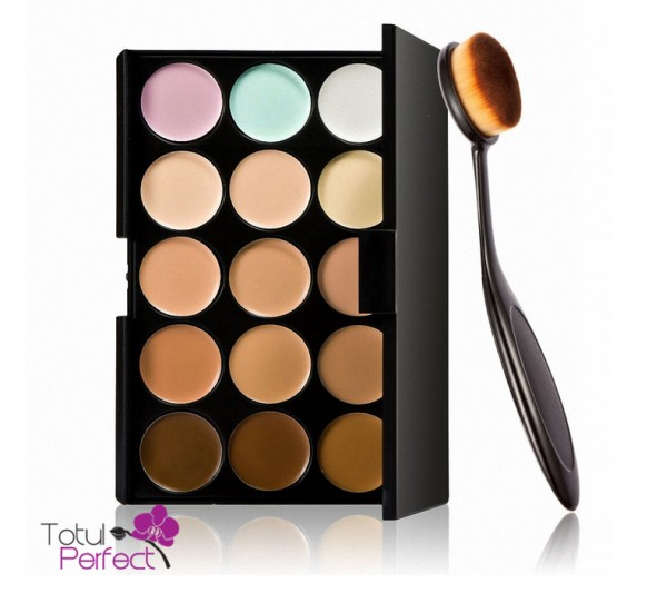 Kit Trusa profesionala 15 Nuante Corector make-up si Pensula machiaj