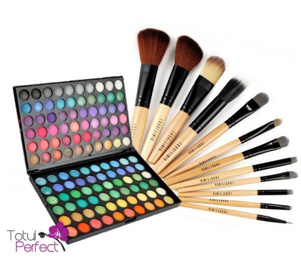 Kit Trusa profesionala 120-1 de farduri make-up si Set Pensule machiaj 12 Bucati