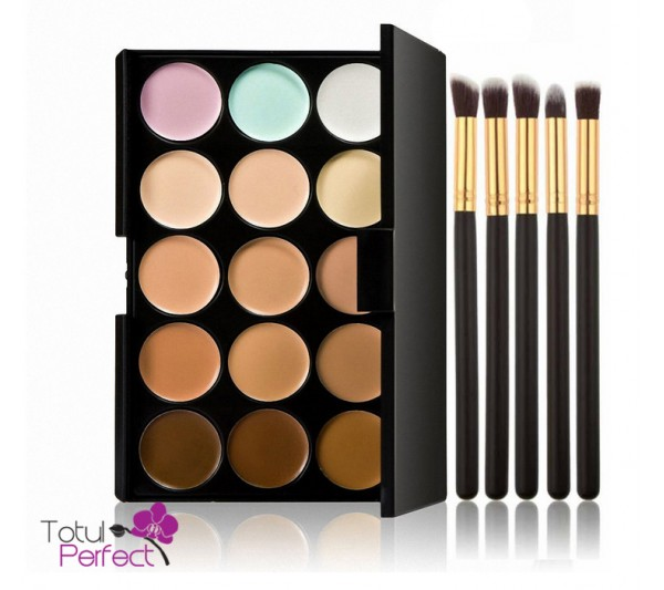 Kit Trusa profesionala 15 Nuante Corector make-up si 5 Pensule machiaj
