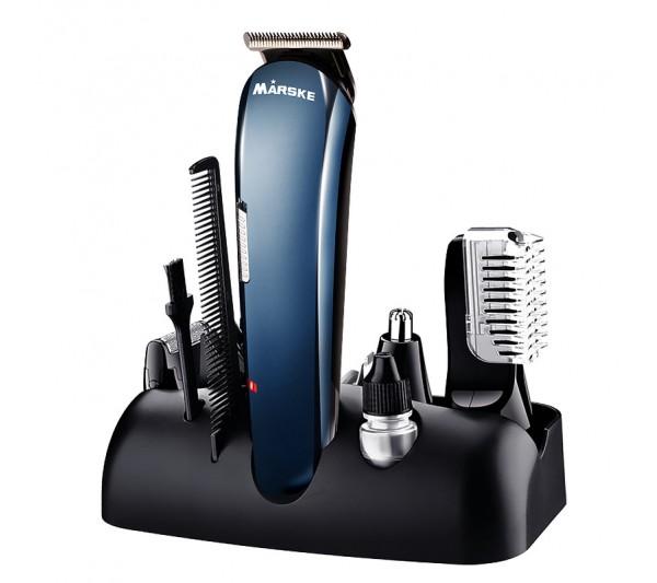 Set 5in1 pentru barbati Aparat de barbierit reincarcabil Electric Personal Grooming Kit, Marske Albastru