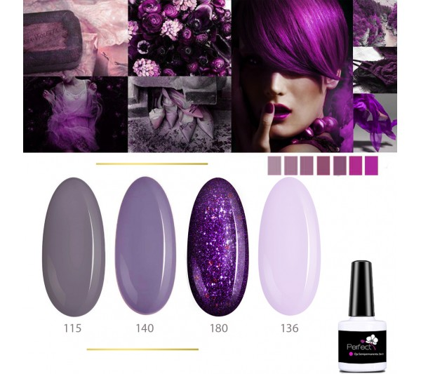 Set Inspiration 4 Oje Semipermanente unghii 3in1 One Step, 6ml cu Pensula, Lavander Mystic TotulPerfect
