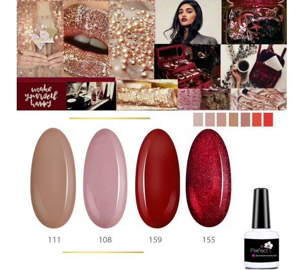 Set Inspiration 4 Oje Semipermanente unghii 3in1 One Step, 6ml cu Pensula, Cherry Wine TotulPerfect